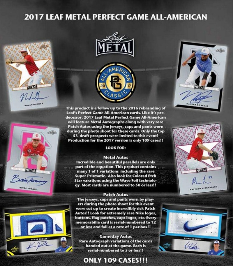 2017 Leaf Metal Perfect Game All-American Personal Box